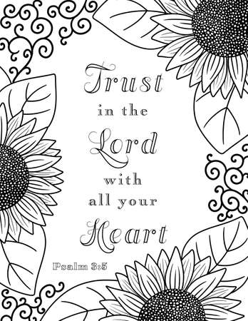 A Border of Sunflowers Perfect for Coloring with a Bible Verse to Trust in the Lord with all your Heart