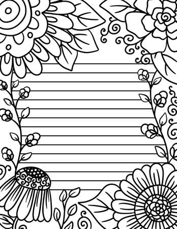 Adult Coloring Page with Guild Lines for Writing