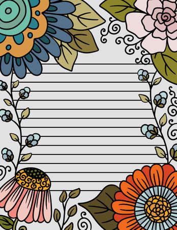 Beautiful Frame of Flowers Stationary with lines for Writing
