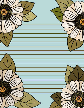Beautiful Frame of Daisies Stationary with lines for Writing