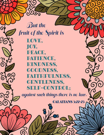 A Bible Quote of the Fruit of the Spirit on a Pink Floral Background 向量圖像