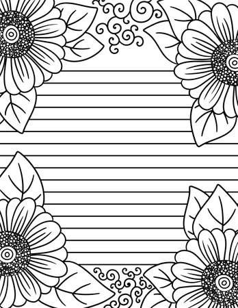 Adult Coloring Page of Floral Daisy Border with Guild Lines for Writing