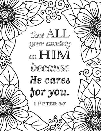 A Bible Quote with Floral Border Cast All Your Anxieites on Him Because He Cares for You 向量圖像