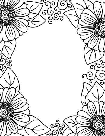 An Adult Coloring Border of Daisies with Copy Space 向量圖像