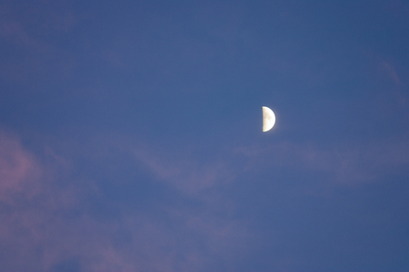 Half moon in evening dark blue sky with pink clouds Banque d'images