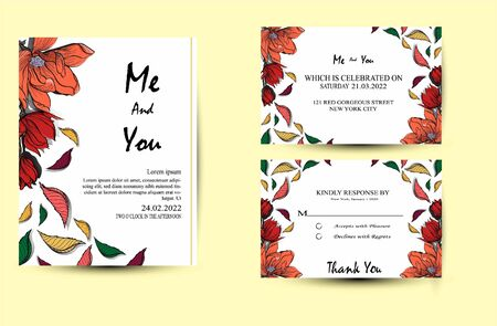 Wedding Invitation with wild flowers, leaves. Spring ornament concept. Floral poster, invite. Vector layout decorative greeting card design background. Hand drawn illustration