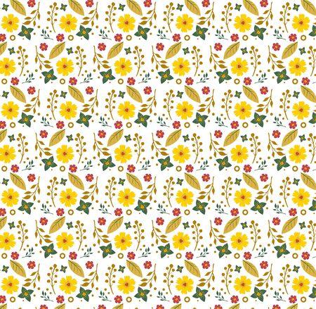 カラフルなエキゾチックな花の背景。熱帯植物のモチーフがランダムに散らばった。パターンベクトルテクスチャ。ファッションプリント。スタイリッシュな白に手描きスタイルで印刷 ベクターイラストレーション