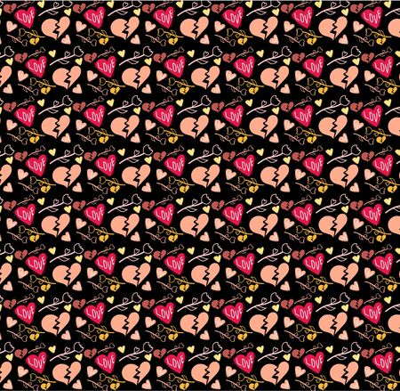 Pattern for Valentine's Day Heart with Cute motifs pink love. Babies fashion. Vector illustration. Fashion prints. Printing with in hand drawn style