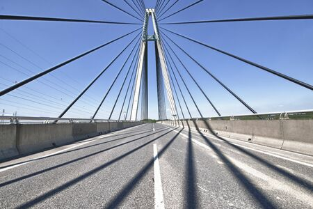 A beautiful cable-stayed bridge with no traffic