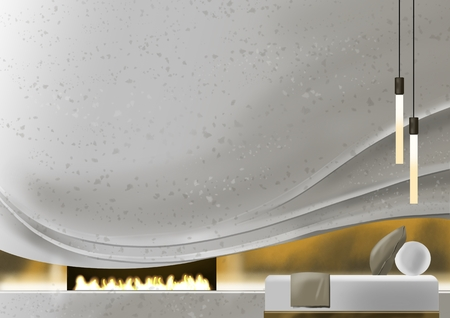 Wave wall with fireplaces and daybed, illustration painting