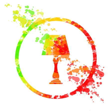 Table lamp icon with splash color, illustration painting