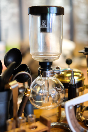 siphon: Syphon Coffee is shown at  Coffee Shop
