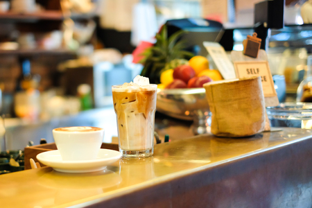 Latte Ice and Latte Hot are ready to served, Coffee Shop Stock Photo
