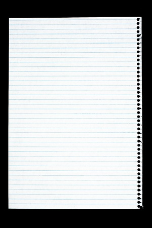 Notepad page isolated on black Stock Photo
