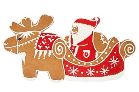 Santa Claus gingerbread isolated on white photo