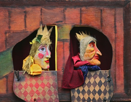 stage costume: Close-up of Punch and Judy show characters