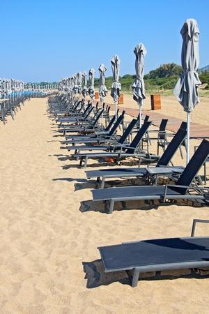 Sunchairs and umbrellas on Beach