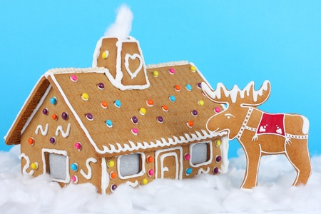 Gingerbread house with reindeer photo