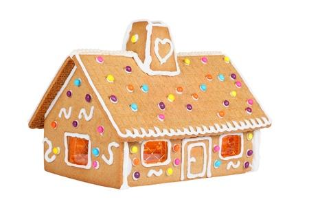 薑餅房子孤立在白色 版權商用圖片