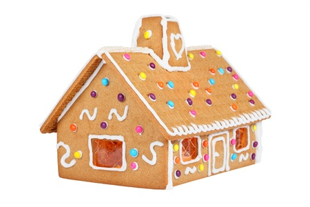 Gingerbread House Isolated On White photo