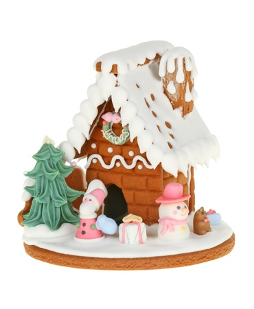 Gingerbread House Isolated On White background photo