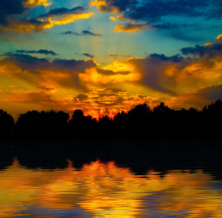 Beautiful sunset in the forest over the lake Stock Photo - 854126