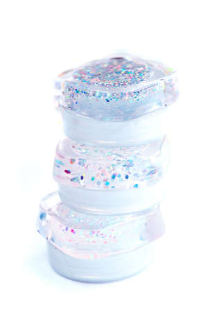 Cosmetic Gloss jars, isolated photo