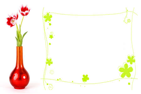 Tulips in red vase, flower frame for copyspace photo