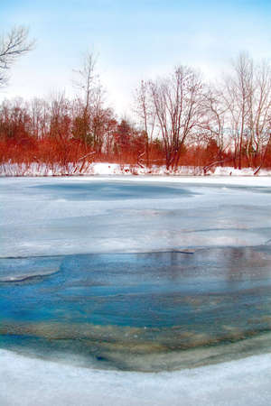 dniper: Beautiful vibrant winter rivershore Stock Photo