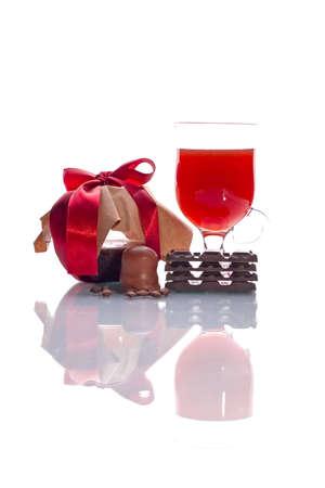 Sweet set: marmalade, wine, chocolate, coffee beans Stock Photo - 890630
