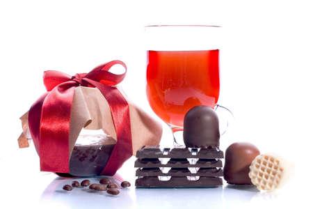Sweet set: marmalade, wine, chocolate, coffee beans Stock Photo - 890631