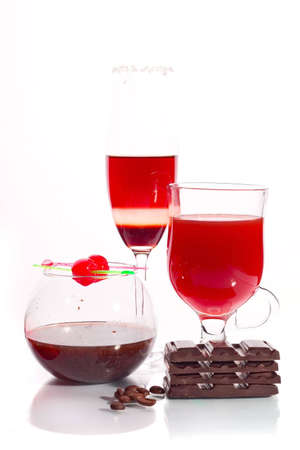 Sweet set of Cocktail, vine, jam jar and chocolate bars photo