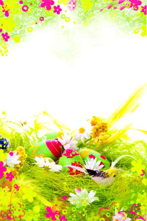 Easter Postcard with painted eggs photo