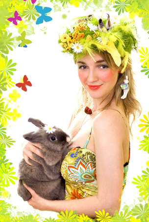 Spring girl holding a bunny Stock Photo - 891501