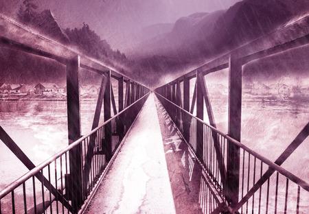 bridge over water: Vintage image of bridge over the river, art