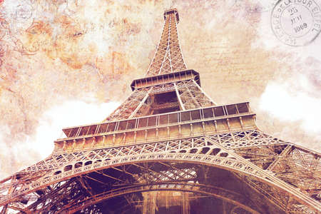 Abstract digital art of Eiffel Tower in Paris. Old paper. Digital art, high resolution, printable on canvas Banco de Imagens