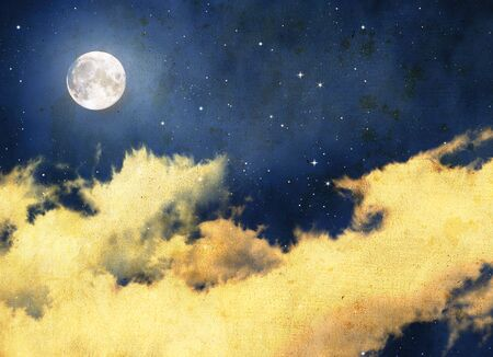 dramatic clouds: Vintage night sky background with full moon and clouds. Romantic and mysterious