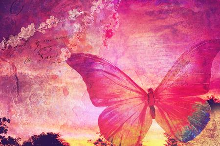 ピンク蝶背景、古い紙のデザイン、はがき、キャンバスに油彩、印刷の良いスクラップブッ キング用