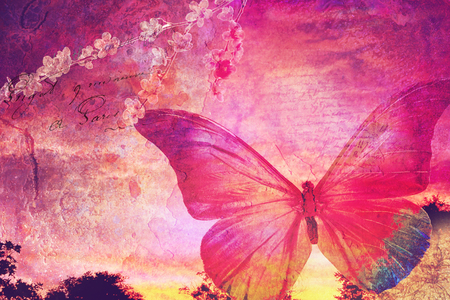 grubby: Pink butterfly background, old paper design, postcard, printable on canvas, good for scrapbooking