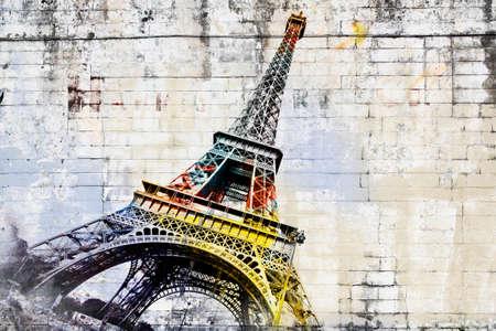 Abstract digital art of Eiffel Tower in Paris. Street art on wall. Digital art, high resolution, printable on canvas