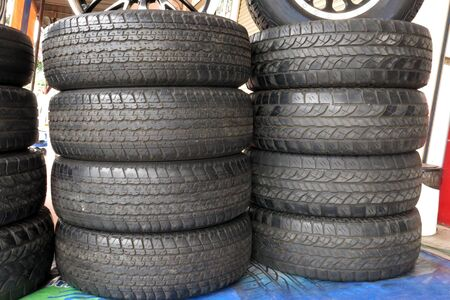some used tyres in the garage