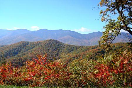 ridges: Vista di caduta foglie e belle montagne da trascurare il Blue Ridge Parkway in North Carolina