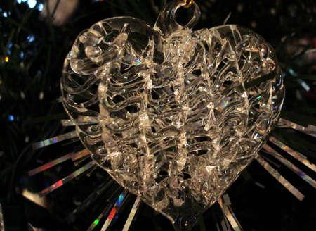 corazon cristal: Crystal Heart Ornamento de Navidad  Foto de archivo