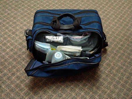 homecare: Open Nurses Bag Showing Supplies
