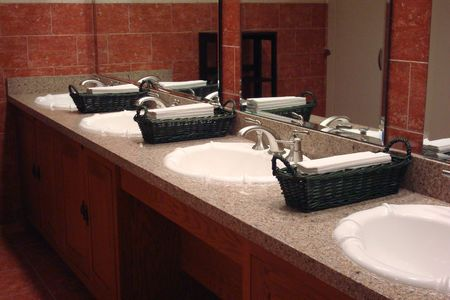 Hotel Bathroom Row Of Sinks