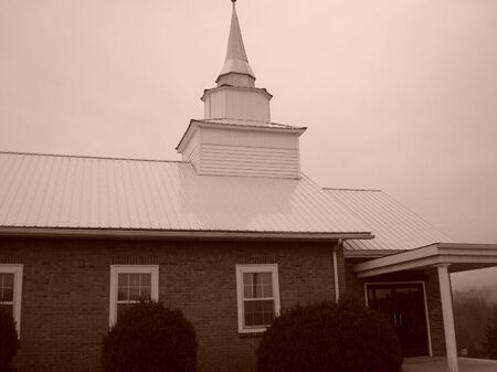 Church and Steeple In Sepia photo
