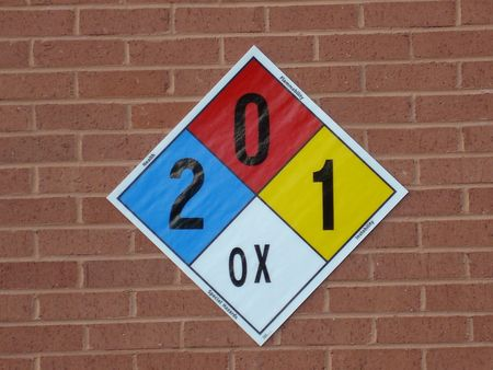 reactivity: Hazard Identification Sign On Brick Wall Stock Photo