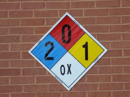 reactivity: Hazard Identification Sign On Brick Wall Stock Photo