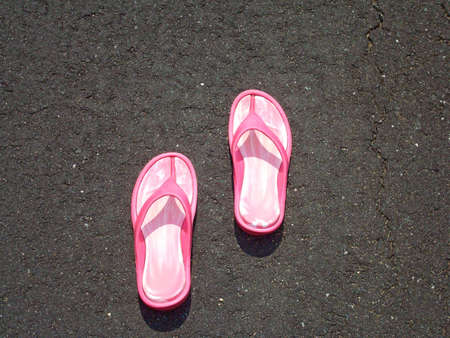 flops: Pink Flip Flops On Pavement