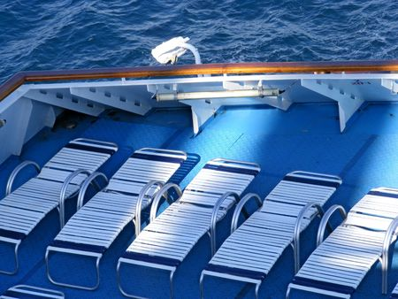 loungers: Loungers on Ship Deck Stock Photo